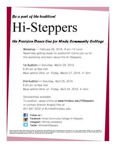Be a part of the tradition? Auditions for the #HindsCC Hi-Steppers are coming soon! See the flyer for more information. #histeppers