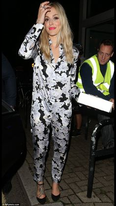 Fearne Cotton. Monochrome floral jumpsuit.