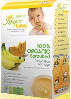 Baby Rice Cereal with Banana and Pumpkin Powder with High Nutritional Value, Xongdur 20 G.(0.70 Oz.) * 6 Sachets.