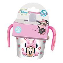 Caneca Treino PP Minnie Baby é parte da coleção de louça da Minnie Baby. Um copo para treinar, com capacidade para 280 ml, em poliestireno (PS), decorado com a imagem e as cores da Minnie Mouse bebé. Apto para estar em contacto com os alimentos.