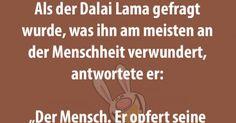 Als der Dalai Lama gefragt wurde, was ihn am meisten an der Menschheit verwundert, antwortete er...