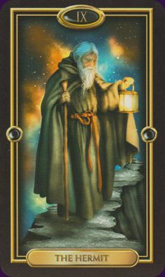The Hermit from the Gilded Tarot by Circo Marcetti. All images were found on Pinterest, More information about this deck you can find here: http://www.tarotacademy.org/the-gilded-tarot-book-and-tarot-deck-set/