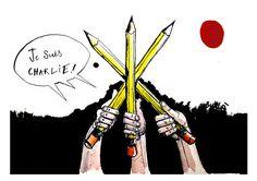 "Hommage à Charlie Hebdo par Seb Tanti Burlo - ""All for one...#JeSuisCharlie #CharlieHebdo"""
