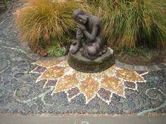 Stone pebble mosaic flower. Yellow green. Portfolio Gallery - MetaMosaics