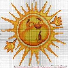 Grandissima raccolta di Schemi,cornici e grafici per Punto croce, gratis da scaricare : Schema punto croce - Sole e luna