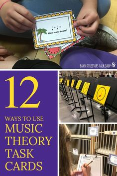 Have you heard of music theory task cards? They are exactly what the sound like-cards with tasks on them! They come in sets so you can target a specific skill, standard, or subject. Task cards are fun alternative to music theory worksheets because they have so many uses. We have enjoyed using them to make music theory FUN in our band classes and elementary music lessons.  Hope the ideas for use in this article will inspire you too! They are great for beginning band, Music Theory Games, Music Education Games, Music Theory Worksheets, Music Activities, Teaching Music, Rhythm Games, Elementary Music Lessons, Upper Elementary, Music Classroom