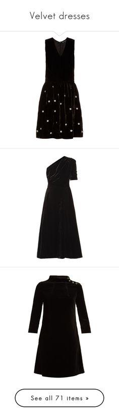 """""""Velvet dresses"""" by missloveschic ❤ liked on Polyvore featuring dresses, black, flower embroidered dress, indian dresses, ruching dress, velvet dress, silk cocktail dress, velvet midi dress, one shoulder cocktail dress and short a line dresses"""