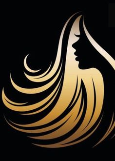 Sketch Hair - illustration vector of women silhouette golden icon, women face icon on black background Silhouette Art, Woman Silhouette, Hair Salon Logos, Hair Logos, Fond Design, Hair Icon, Business Hairstyles, Drawing For Beginners, Sketch A Day