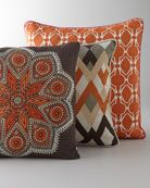 """Global Bazaar"" Pillows at Horchow. pillows 4 my leather sofa! Cozy Sofa, Sofa Pillows, Accent Pillows, Neutral Pillows, Bed Cushions, Living Room Orange, New Living Room, Living Room Decor, Room Colors"