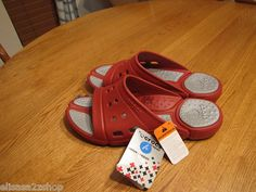 Men's womens crocs slide M 8 W 10 NEW relaxed fit RARE prepair 2 true red silver  1