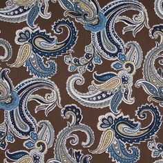 Navy Blue Paisley Cotton Upholstery Fabric - Contemporary Brown Paisley Curtain Material - Blue Grey Home Decor Yardage - Paisley Pillow