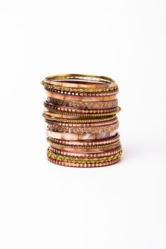 Rose Tone Bangle Set | a-thread Will match my new rose gold watch!