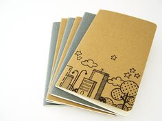 Skyline Notebook Pocket Moleskine Cahier journal hand drawn. €8.00, via Etsy.