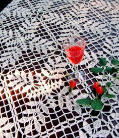 Купить Скатерть вязаная 'Белый шиповник' в интернет магазине на Ярмарке Мастеров
