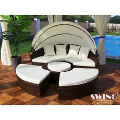 Rattan-Effect Garden Sun Island with Optional Rain Cover from With Free Delivery (Up to Off) Garden Furniture Sets, Pool Furniture, Outdoor Lounge Furniture, Outdoor Decor, Garden Waste Bags, Garden Clearance, Table Console Extensible, Sun Roof, Parasol