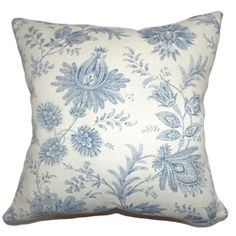 This enchanting toile throw pillow is in full bloom. This square pillow features an exquisite floral toile print in Blue hue. This decor pillow adds a lively vibe in your home with its beautiful details. Add this as an accent piece in your sofa and incorporate other toile pillows to complete your collection. This accent pillow is made from 55% cotton and 45% linen. $55.00  #homedecor #throwpillow #pillows