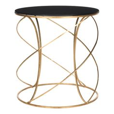 Cagney Accent Table - $161 - Iron accent table with a spiraling golden base and black glass top.