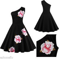 Vintage 50's Retro Rockabilly Pinup Housewife Swing Evening Cocktail Party Dress