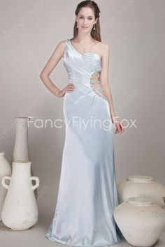fancyflyingfox.com Offers High Quality Light Blue Satin One Shoulder A-line Full Length Formal Evening Dresses With Ruched Bodice ,Priced At Only US$175.00 (Free Shipping)