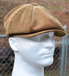 Corduroy Newsboy Gatsby Hat Men Golf Driving Ivy Cap Flat Cabbie ...
