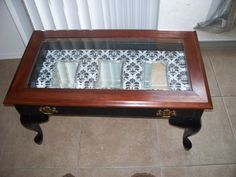 Vintage Window Curio Coffee Table Shabby Cottage White Shabby
