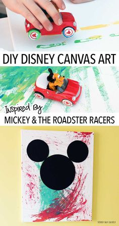 Let kids create their own Disney wall art with this fun project inspired by Mickey and the Roadster Racers! Zoom your cars all over a canvas to create a unique masterpiece - then add Mickey Mouse. Disney Junior fans will love this kids painting activity. Canvas Art Projects, Toddler Art Projects, Toddler Crafts, Projects For Kids, Kids Crafts, Easy Crafts, Disney Kids Rooms, Disney Crafts For Kids, Art For Kids