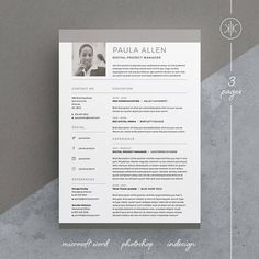 paula resumecv template word photoshop indesign professional resume design cover letter instant download