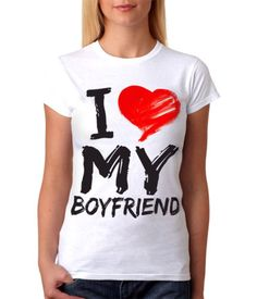 New 2015 Women Summer Clothing White Cotton Short Sleeves Tshirt I love my boyfriend casual bluse feminina Free Shipping
