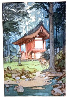 For the largest collection of century Japanese woodblock prints and East Asian contemporary art, including Temple in the Woods by Hiroshi Yoshida visit Ronin Gallery in NYC today! Hiroshi Yoshida, Japanese Woodcut, Illustration Art, Illustrations, Botanical Illustration, Art Asiatique, Art Japonais, Japanese Painting, Chinese Painting