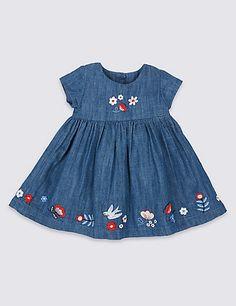 2 Piece Denim Baby Dress with Tights Girls Denim Dress, Kids Dress Wear, Toddler Girl Dresses, Little Girl Dresses, Kids Frocks Design, Baby Frocks Designs, Kids Blouse Designs, Baby Girl Dress Patterns, Kids Outfits