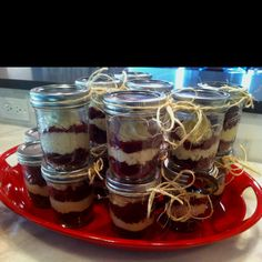 Just made these red velvet Cupcakes in a jar for our (indoor) picnic party. Thnks pinterest!