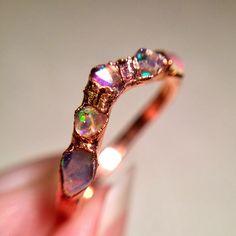 Raw Opal Ring, Chevron Ring, Dainty Opal Ring, Stacking Opal Ring, Stack, Copper Opal Ring, Electroformed Opal Ring, October Birthstone Ring
