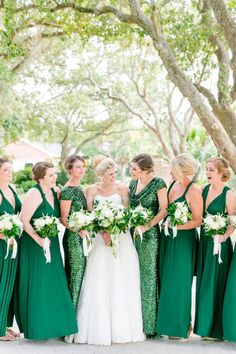 Glamorous emerald green dresses with sequins | Gold, Black, White + Green Lowndes Grove Plantation Wedding by Charleston wedding photographer Dana Cubbage Weddings