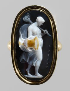 Young Woman with a Torch and a Vase, ca. 1770–90 Giovanni Pichler (Italian, 1734–1791) Rome Sardonyx; mounted in gold as a ring; 15/16 x 1/2 in. (24 x 13 mm) Signed in Greek