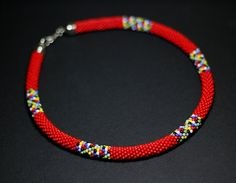 Red African Necklace African Inspired Necklace by HeriniaJewelry