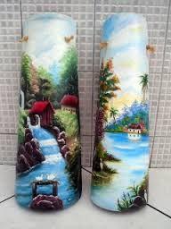 telhas decoradas - Pesquisa Google Nylon Crafts, Decoupage, Roof Tiles, Country Scenes, Bottle Painting, Tile Art, Clay Pots, Painting On Wood, Terracotta