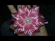 Flor de fita de cetim flor bela. - YouTube