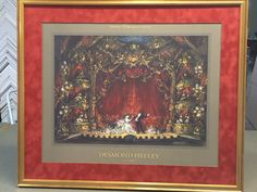 Stratford theater poster framed in a gold leaf wooden frame with orange-red swede textured matting by ART-EN-CIEL Orange Red, Gold Leaf, Wooden Frames, Custom Framing, Theater, Texture, Poster, Pictures, Painting