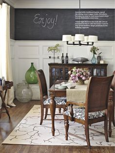 Love the wainscot with the chalkboard paint! Dining Room Chalkboard Wall - Run To Radiance Chalkboard Paint, Menu Chalkboard, Blackboard Wall, Room Planning, Dining Room Walls, Better Homes And Gardens, Home Interior, Interiores Design, Kitchen Dining