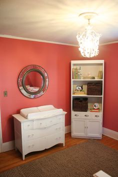 Chandelier, Corner Shelves, Mirror, Coral