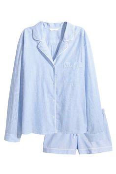Ensemble de pyjama - Bleu clair/rayé fin - FEMME   H&M FR 1