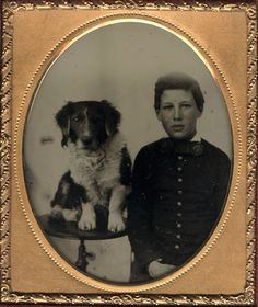 Portrait of a Boy next to His Dog (Seated on a Table)