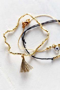 Eye + Tassel Layering Bracelet Set - Urban Outfitters