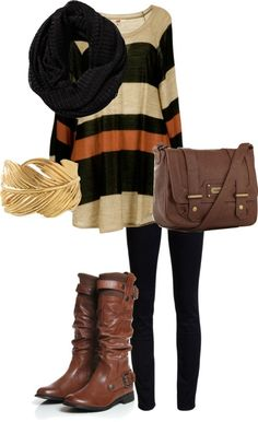 Adorable fall outfit of black woolen scarf, sweater, black leggings, long brown leather shoes and hand bag