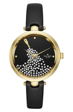 Playful yet sophisticated like all Kate Spade designs, this festive watch tells three-hand time on a sparkling backdrop of overflowing bubbly.