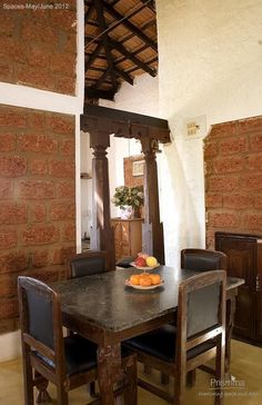 Sustainable design : Using Laterite : Indian home. eco-friendly design. indian home. dining room