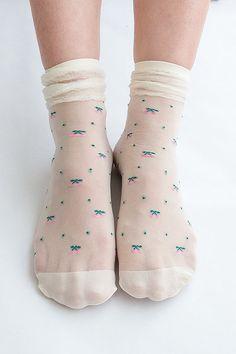 Women NEW Hezwagarcia Cute Cherry Pattern Frill Stocking White Sheer Lace Layered Socks Hosiery