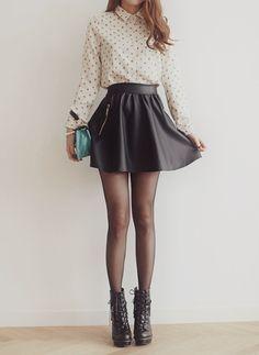 outfit - falda negra (tacto piel)
