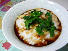 Congee with bok choy