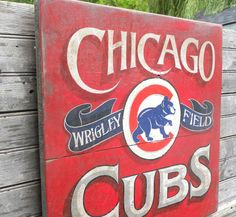 Chicago Cubs  Print,, faux'  vintage,, original print, Baseball decor,Illinois, wall hanging